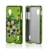 White Hawaiian Flowers on Green Rubberized Hard Case for LG Optimus G (Sprint)