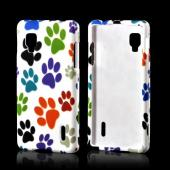 Colorful Paw Prints on White Rubberized Hard Case for LG Optimus G (Sprint)