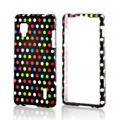 Rainbow Polka Dots on Black Rubberized Hard Case for LG Optimus G (Sprint)