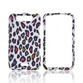 LG Viper 4G LTE/ LG Connect 4G Rubberized Hard Case - Rainbow Leopard on White