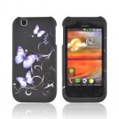 T-Mobile MyTouch Rubberized Hard Case - Purple Butterflies on Black