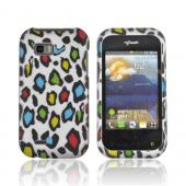 T-Mobile MyTouch Q Rubberized Hard Case - Colorful Leopard on Silver