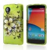 White Hawaiian Flowers on Green Rubberized Hard Case for LG Google Nexus 5
