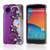 Purple Vines on Silver/ Purple Rubberized Hard Case for LG Google Nexus 5