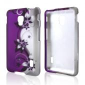 Black Vines on Purple/ Silver Rubberized Hard Case for LG Optimus F6