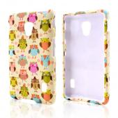Retro Owls on Cream Rubberized Hard Case for LG Optimus F6