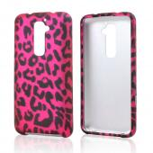 Black Leopard on Hot Pink Rubberized Hard Case for LG G2 (AT&T, T-Mobile, & Sprint)