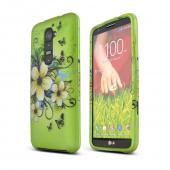 White Hawaiian Flowers on Green Rubberized Hard Case for LG G2 (AT&T, T-Mobile, & Sprint)