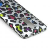 Rainbow Leopard on Silver Rubberized Hard Case for LG G2 (AT&T, T-Mobile, & Sprint)