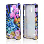 Autumn Floral Burst on White Rubberized Hard Case for LG Optimus L9