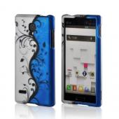 Black Vines on Silver/ Blue Rubberized Hard Case for LG Optimus L9