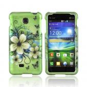 LG Escape Rubberized Hard Case - White Hawaiian Flowers on Green