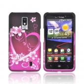 LG Spectrum Rubberized Hard Case - Hot Pink/ Purple Hearts & Flowers