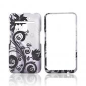 LG Revolution, LG Esteem Rubberized Hard Case - Black Flowers and Vines on Silver