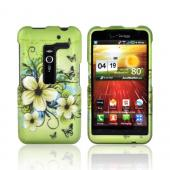 LG Revolution, LG Esteem Rubberized Hard Case - Hawaiian Flowers on Green