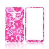LG Revolution, LG Esteem Rubberized Hard Case - Pink Flowers on Pink