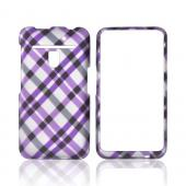 LG Revolution, LG Esteem Rubberized Hard Case - Purple & Black Plaid