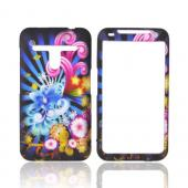 LG Revolution, LG Esteem Rubberized Hard Case - Rainbow Flowers on Black