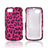 Motorola Admiral Rubberized Hard Case - Hot Pink/ Black Leopard