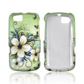 Motorola Admiral Rubberized Hard Case - White Hawaiian Flowers on Green
