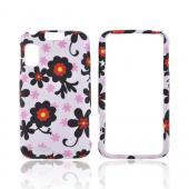 Motorola Atrix 4G Rubberized Hard Case - Black Daisies on White