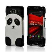 Silver/ Black Panda Rubberized Hard Case for Motorola Droid RAZR MAXX HD