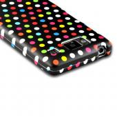 Rainbow Polka Dots on Black Rubberized Hard Case for Motorola Droid RAZR MAXX HD
