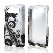 Black Vines on Silver Rubberized Hard Case for Motorola Droid Mini
