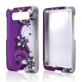 Black Vines on Purple/ Silver Rubberized Hard Case for Motorola Droid Mini