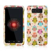 Retro Owls on Cream Rubberized Hard Case for Motorola Droid Mini