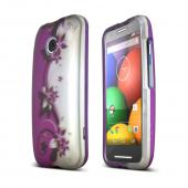 Purple Vines on Silver Motorola Moto E Matte Rubberized Hard Case Cover; Perfect fit as Best Coolest Design Plastic cases