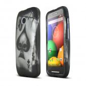 Ace Spade Skull Motorola Moto E Matte Rubberized Hard Case Cover; Perfect fit as Best Coolest Design Plastic cases