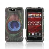 Motorola Droid RAZR MAXX Rubberized Hard Case - Blue/ Green Peacock Feather