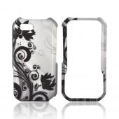 Motorola TITANIUM Rubberized Hard Case - Black Floral Swirl Design