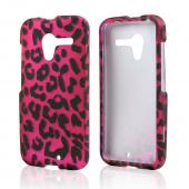 Black Leopard on Hot Pink Rubberized Hard Case for Motorola Moto X