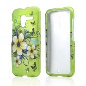 White Hawaiian Flowers on Green Rubberized Hard Case for Motorola Moto X