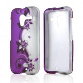 Purple Vines & Flowers on Silver Rubberized Hard Case for Motorola Moto X
