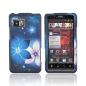 Motorola Droid Bionic XT875 Rubberized Hard Case - Pink/ Blue Flowers on Midnight Blue