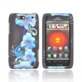 Motorola Droid 4 Rubberized Hard Case - Blue Flowers on Black