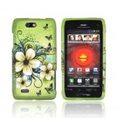 Motorola Droid 4 Rubberized Hard Case - Hawaiian Flowers on Green