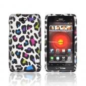 Motorola Droid 4 Rubberized Hard Case - Rainbow Leopard on Silver