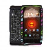 Motorola Droid 4 Rubberized Hard Case - Rainbow Zebra on Black