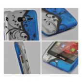 Black Vines on Silver/ Blue Rubberized Hard Case for Motorola Droid RAZR M