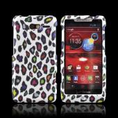 Motorola Droid RAZR M Rubberized Hard Case - Rainbow Leopard on White