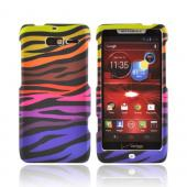 Motorola Droid RAZR M Rubberized Hard Case - Rainbow Zebra on Black
