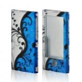Black Vines on Blue/ Silver Rubberized Hard Case for Apple iPod Nano 7