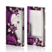 Purple Vines/ Flowers on Silver Rubberized Hard Case for Apple iPod Nano 7