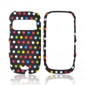 Nokia Astound C7-00 Rubberized Hard Case - Rainbow Polka Dots on Black