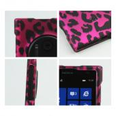 Black Leopard on Hot Pink Rubberized Hard Case for Nokia Lumia 1020
