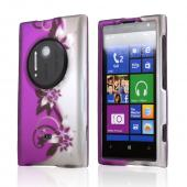 Purple Vines & Flowers on Silver Rubberized Hard Case for Nokia Lumia 1020